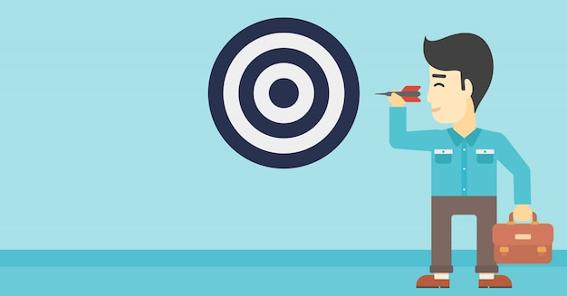 Businessman and target board Premium Vector