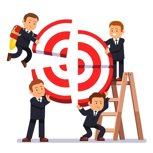 Businessman team building aim Free Vector