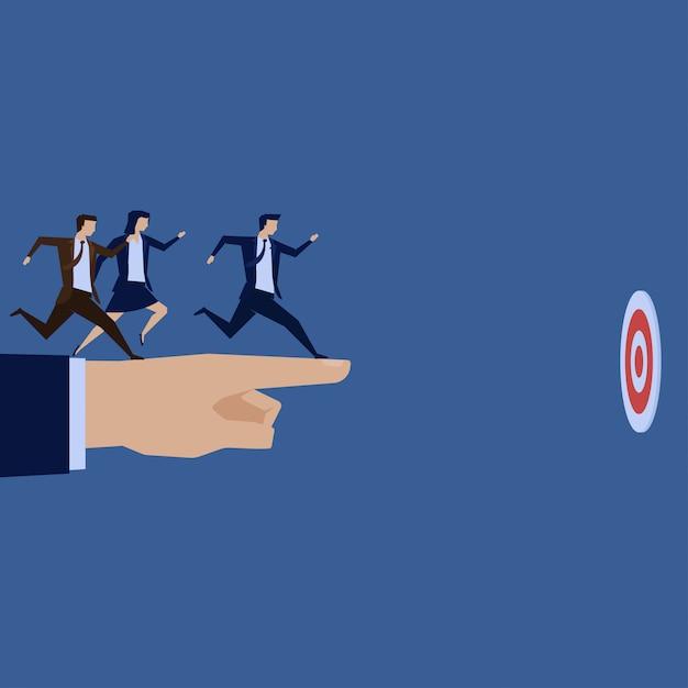 Businessman team run to target above hand pointing. Premium Vector