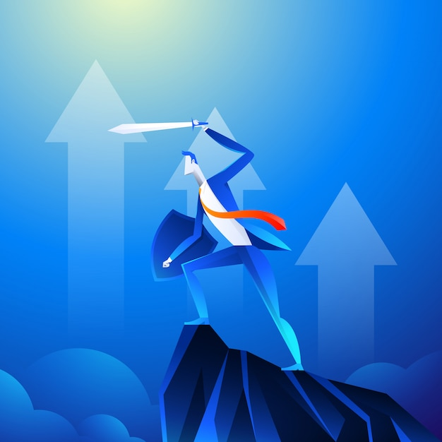 A businessman that looks like a superhero is showing sword on mountain. Premium Vector