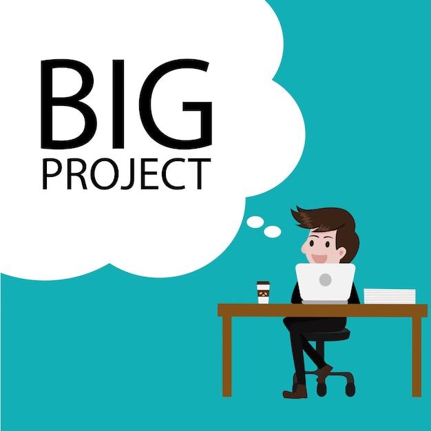 Businessman thinking  big project idea. Premium Vector