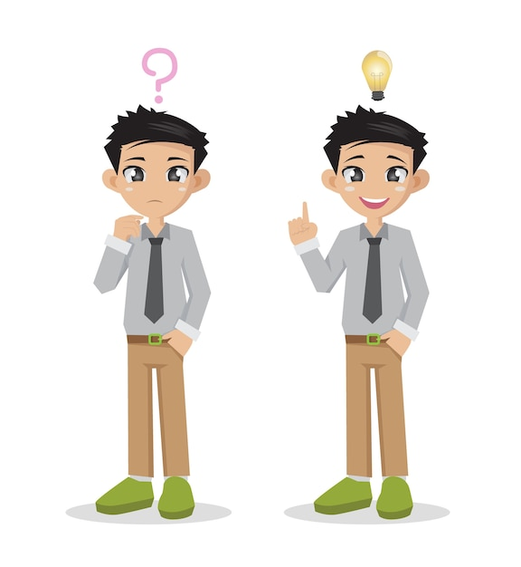 Businessman thinking of doubt and get idea in think. Premium Vector