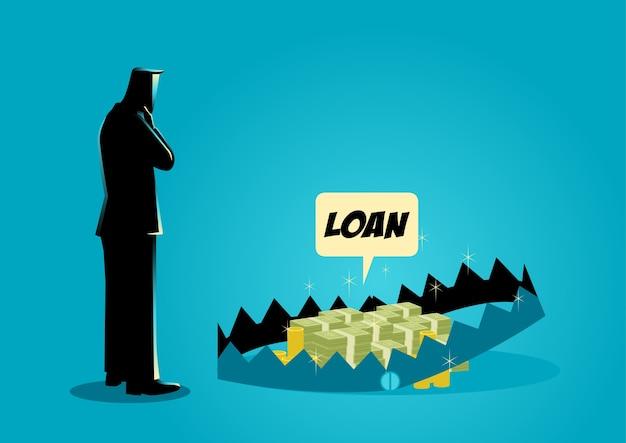 Бизнесмен думает о взятии кредитов Premium векторы