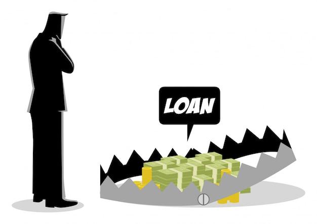 Бизнесмен думает брать кредиты Premium векторы