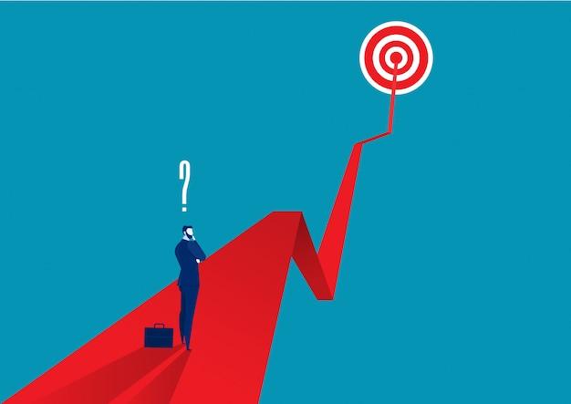 Businessman thinking on red arrow Premium Vector