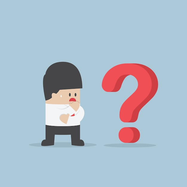 Businessman thinking while looking at question mark Premium Vector