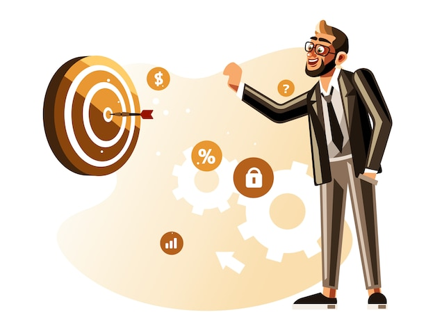 Businessman throwing dart to the target Premium Vector
