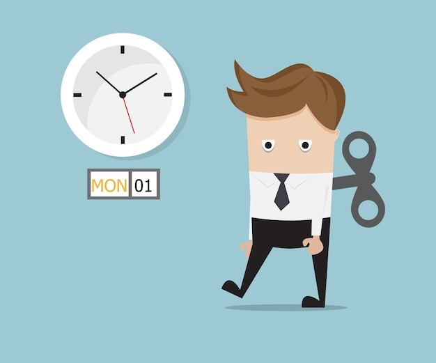 Businessman tired walking with wind up on monday Premium Vector