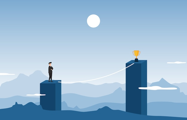 Businessman on top of building thinking how to reach target with obstacle business concept Premium Vector