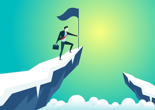 Businessman top mountain hold flag Premium Vector