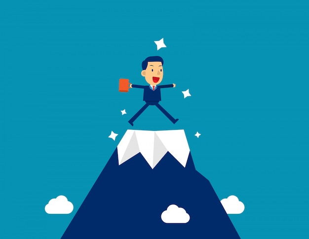 Businessman at the top mountain. kid character style, successful. Premium Vector