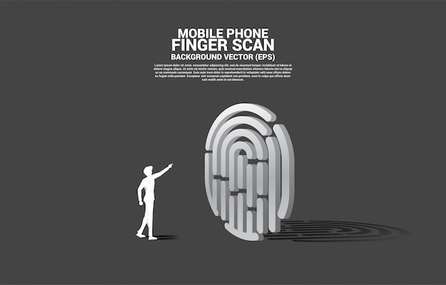 Businessman touch thumbprint on finger scan 3d. concept for security and privacy technology on network Premium Vector