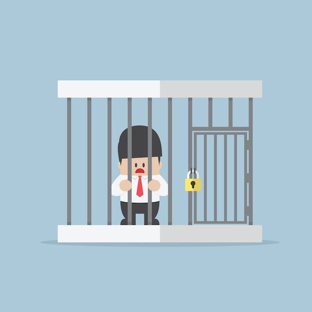 Businessman trapped in a cage Premium Vector