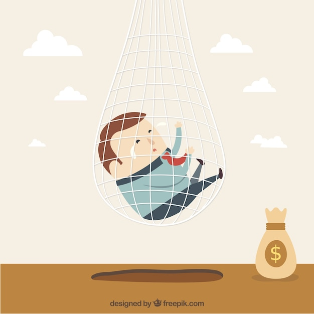 Businessman trapped in net Free Vector