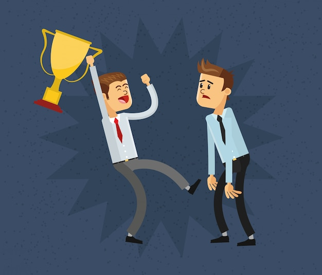 Businessman and trophy icon Premium Vector