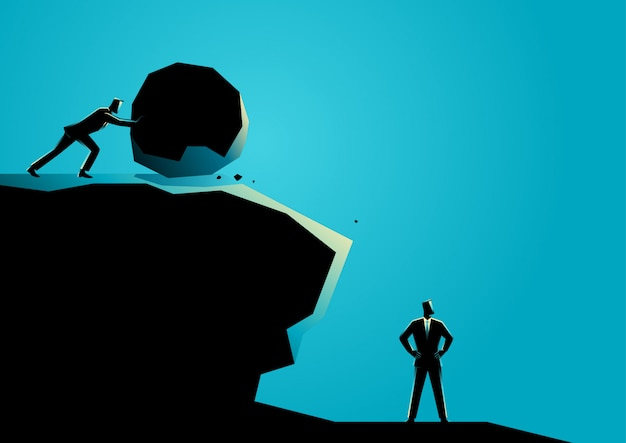Businessman trying to eliminate other businessman Premium Vector
