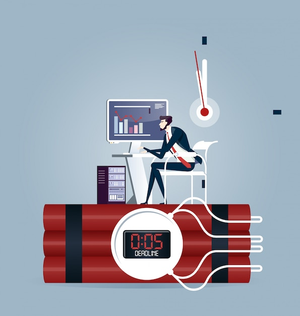 Businessman trying to finish the job on time. deadline business concept Premium Vector