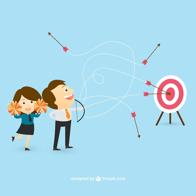 Businessman trying to hit the target Free Vector