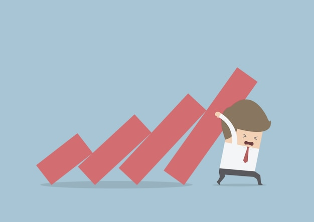 Businessman trying to stop falling graph Premium Vector
