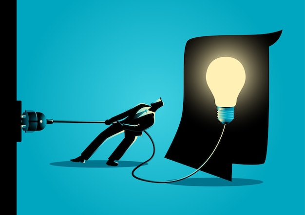 Businessman trying to unplug the light bulb brain Premium Vector