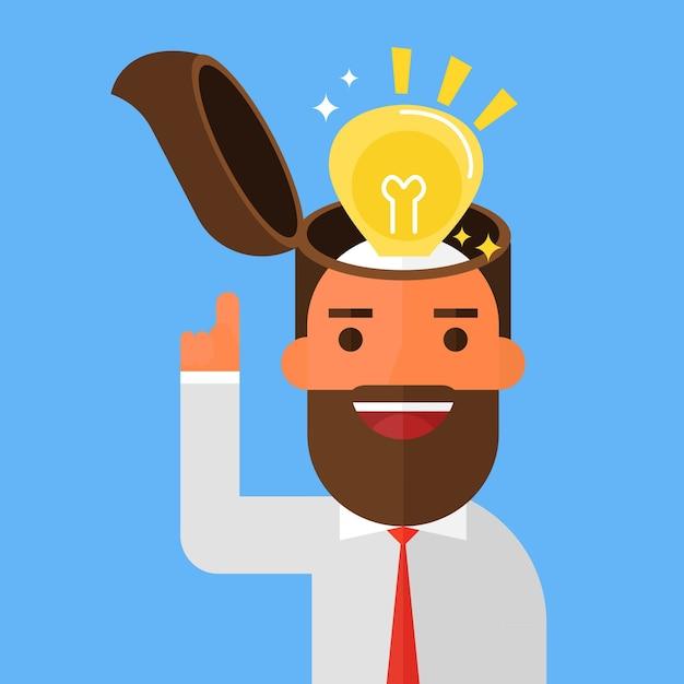 Бизнесмен включит идею лампочек Premium векторы