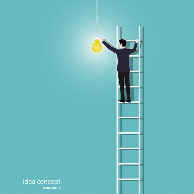 ビジネスマンがライトをオンにします Premiumベクター