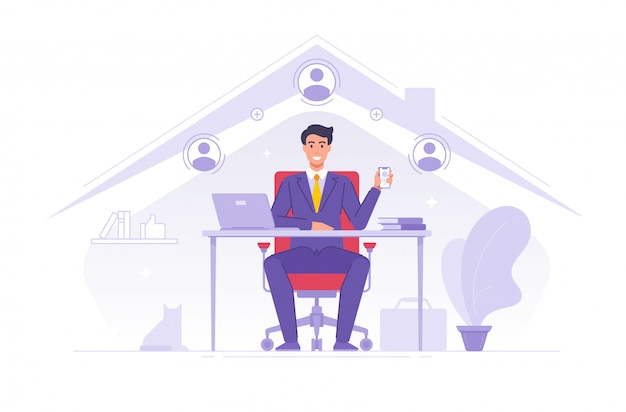 Businessman using app for remote job work at home Premium Vector