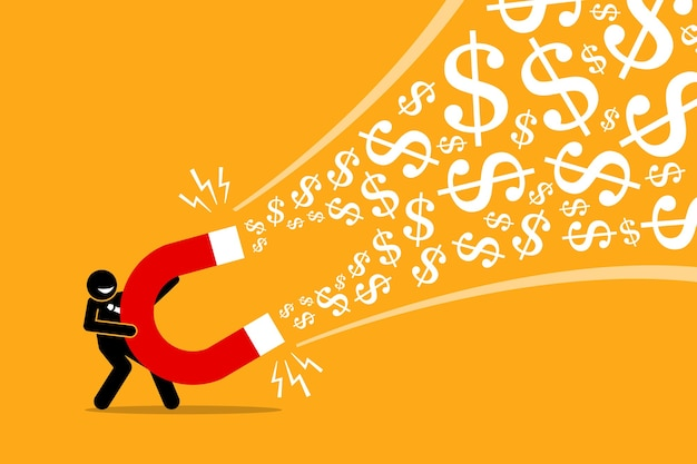 Businessman using a big magnet to attract money. Premium Vector