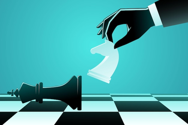 Businessman using chess knight horse to kick a king chess Premium Vector