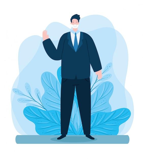 顔のマスクを使用して手を振っている実業家の葉装飾イラストデザイン 無料ベクター