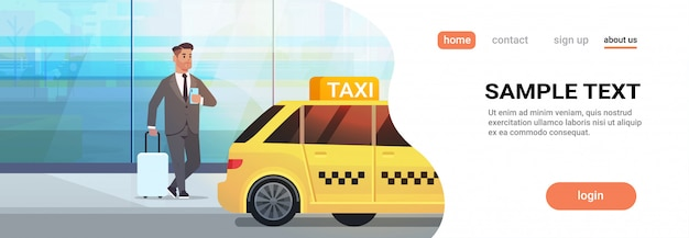 黄色いタクシー都市交通サービスイラスト近く荷物とフォーマルな服装でストリートビジネスの男性にモバイルアプリ注文タクシーを使用するビジネスマン Premiumベクター