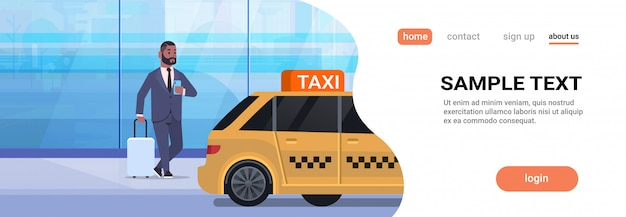 黄色いタクシー都市交通サービスコンセプト全長水平コピースペース近くの荷物を持つストリートビジネスの男性にモバイルアプリ注文タクシーを使用するビジネスマン Premiumベクター