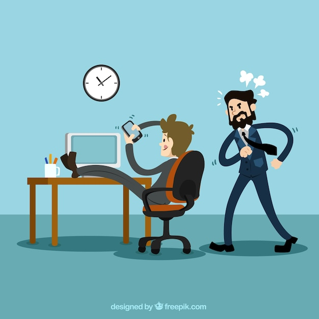 Businessman using mobile phone at work Free Vector