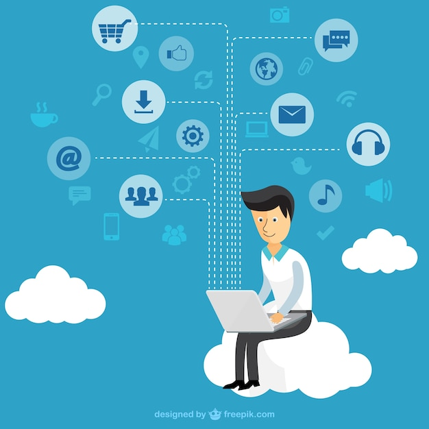 Businessman using a tablet Free Vector