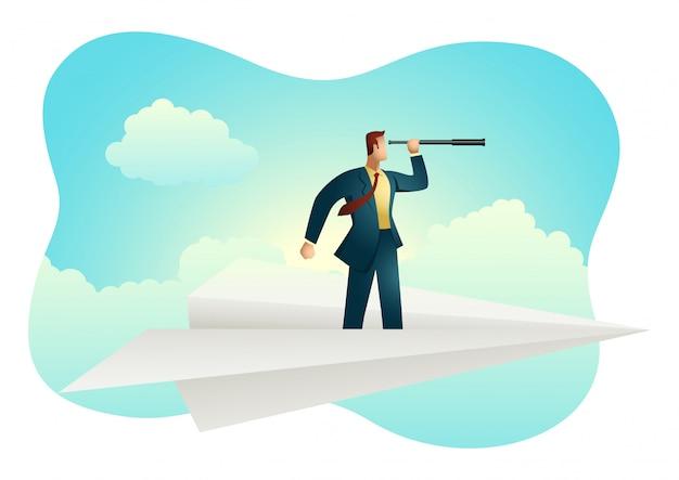 Businessman using telescope on paper plane Premium Vector