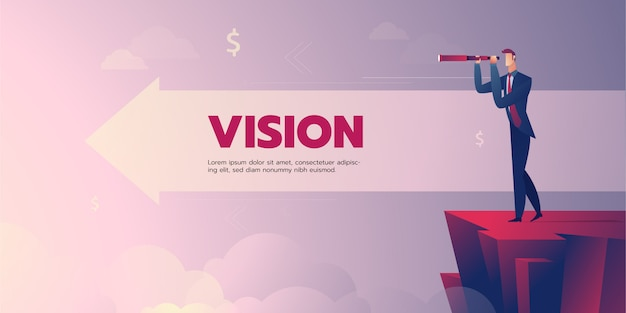 Businessman vision banner with text Premium Vector