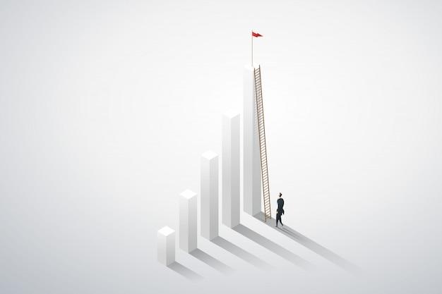 グラフの機会に実業家のビジョンはしごを登る。事業コンセプト Premiumベクター