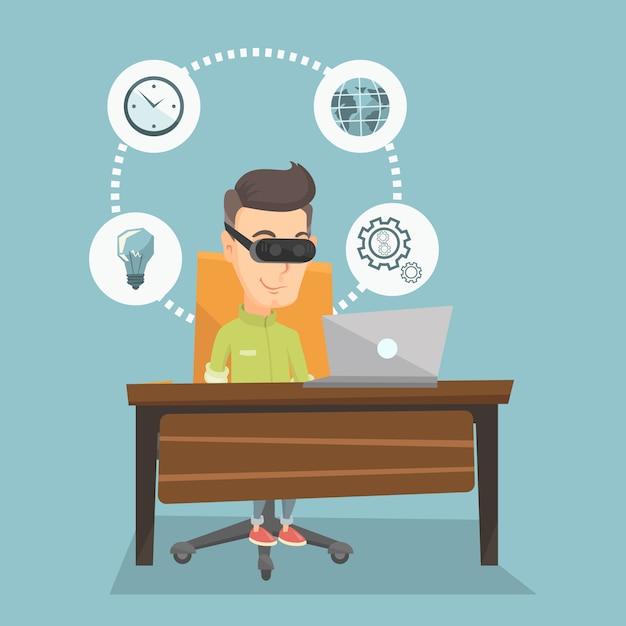 Businessman in vr headset working on computer. Premium Vector