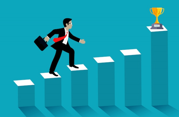 Businessman walk up the bar graph go to trophy on blue background Premium Vector