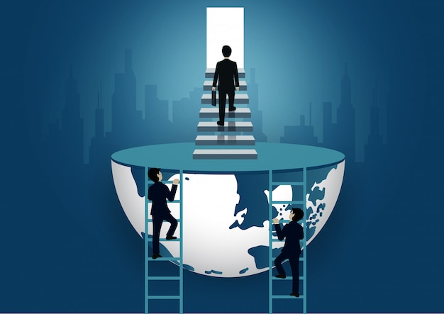 Businessman walk up the stair to the door. step up the ladder to success goal in life and progress in the job Premium Vector