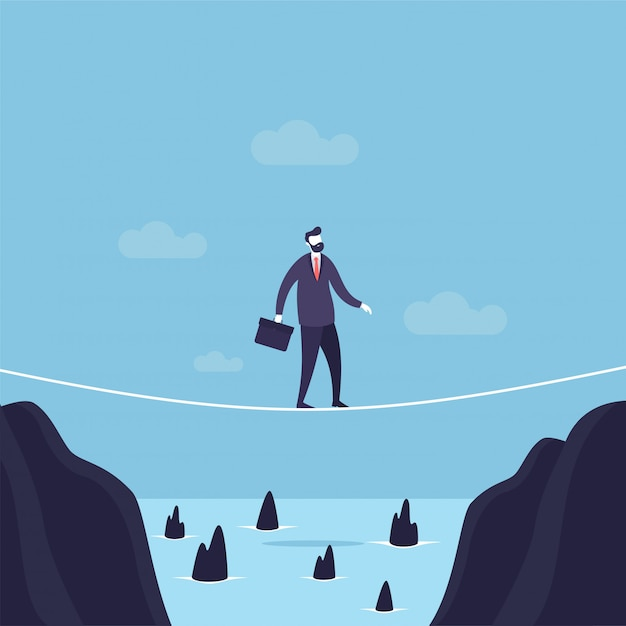 Businessman walking across gap on a tightrope Premium Vector