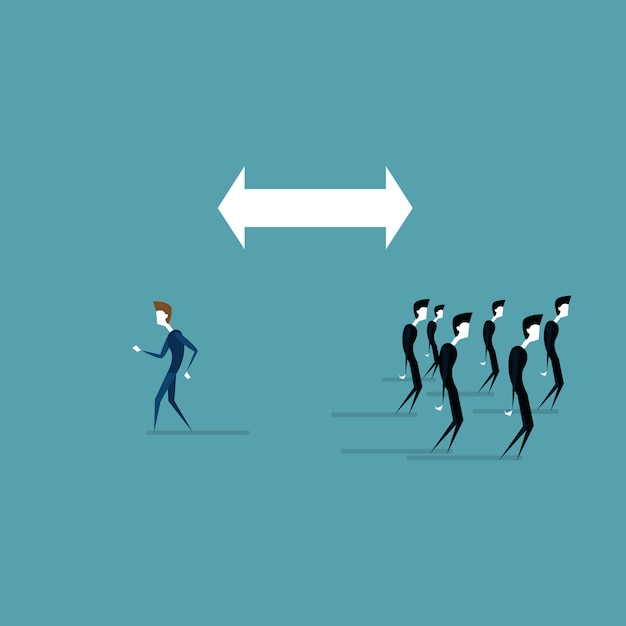 Businessman walking to different side of arrow from business people group Premium Vector