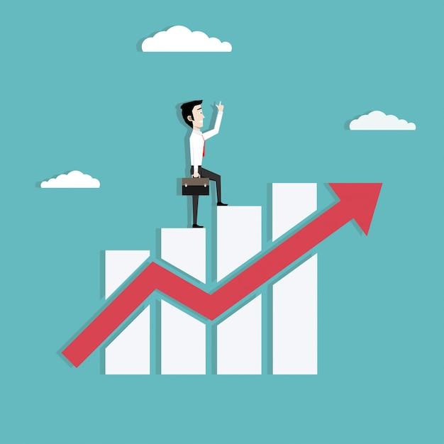 Businessman walking on growing graph Premium Vector