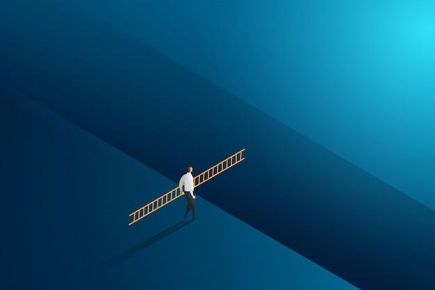 挑戦と目標の成功にクロス持株はしごを歩くビジネスマン。図 Premiumベクター