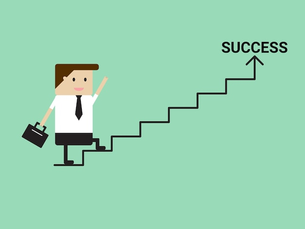 Businessman walking on stairs to success Free Vector