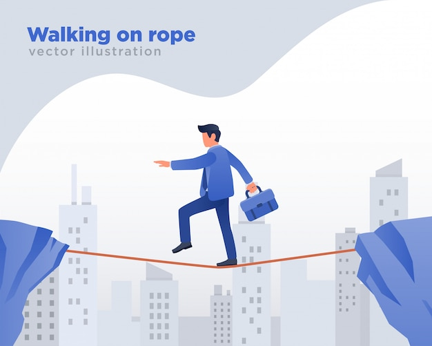 Businessman walking on rope, challenge illustration Premium Vector