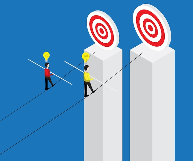 Businessman walking on rope with balance stick to target Premium Vector