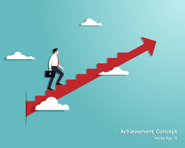 Businessman walking the stairs up to successful Premium Vector