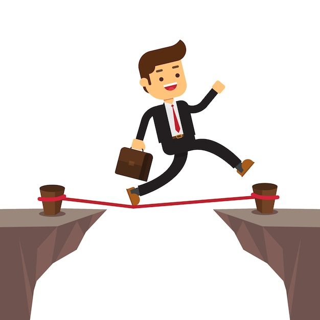 Businessman walking tightrope rope Premium Vector