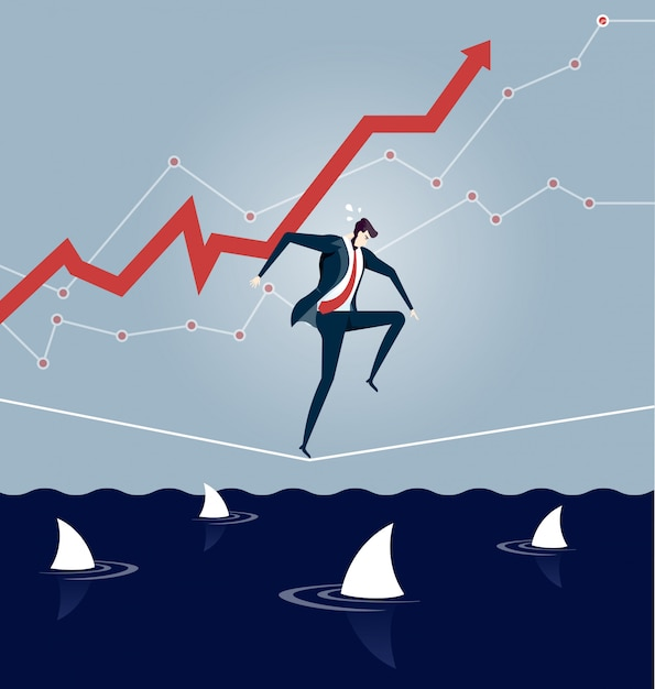 Businessman walking a tightrope over sea of sharks Premium Vector